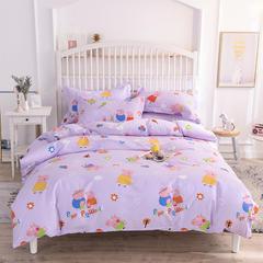 2019新款-床笠四件套 三件套1.2m(4英尺)床 小猪佩奇粉紫