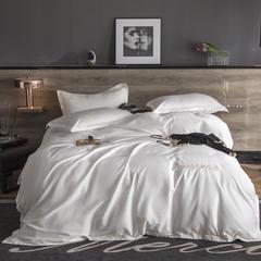 2019新款纯色60全棉贡缎北欧风简约刺绣四件套 1.5m(5英尺)床 珍珠白