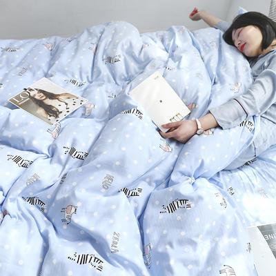2019新款纱布印花四件套 1.2m(4英尺)床 斑马蓝