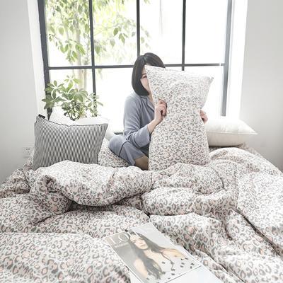 2019新款纱布印花四件套 1.8m(6英尺)床 豹纹粉