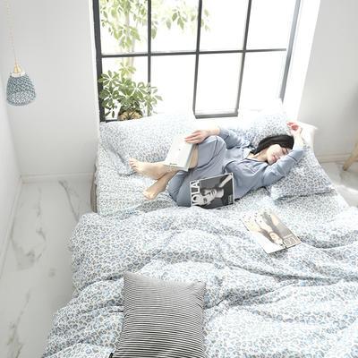 2019新款纱布印花四件套 1.8m(6英尺)床 豹纹蓝