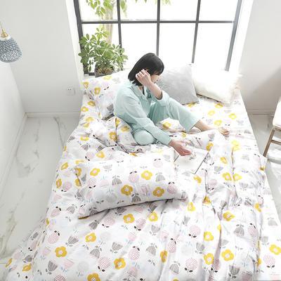2019新款纱布印花四件套 1.2m(4英尺)床 花小豆