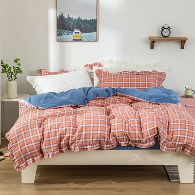 2020新款全棉纱布四件套-彩格系列 1.5m床单款 彩格橘