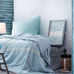 2018新款-全棉水洗棉夏被 150x200cm 古典  蓝