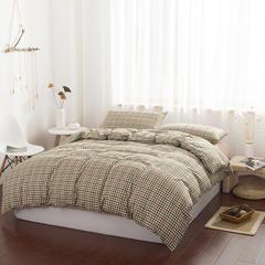 无印良品2018新款棉法兰绒四件套 1.8m(6英尺)床 (新)色织拉绒-布拉格