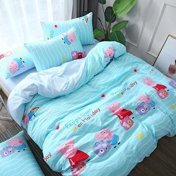 2018新款水洗棉印花四件套 1.2m(4英尺)床单款 小猪佩奇-蓝