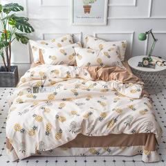 2018新款简约风针织棉四件套 1.5m(5英尺)床 菠萝派对