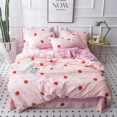 2018新款简约风针织棉四件套 1.5m(5英尺)床 草莓派对