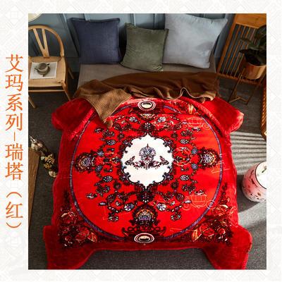 (总)素堇 艾玛系列雕花云毯 200cmx230cm 瑞塔-红