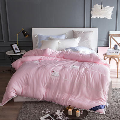 孚缦被业-2018新款莫代尔刺绣工艺冬被系列- 200X230cm 天鹅湖粉色