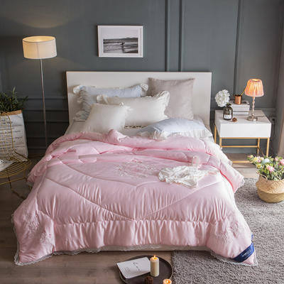 孚缦被业-2018新款莫代尔刺绣工艺冬被系列- 200X230cm 舞精灵粉色