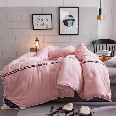 孚缦被业-新款水洗棉工艺纤维冬被-法式浪漫 150x200cm 粉色