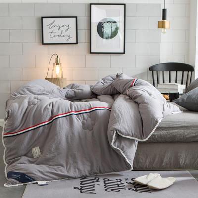 孚缦被业-新款水洗棉工艺纤维冬被-法式浪漫 150x200cm 浅灰色