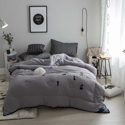 孚缦被业-2018新款水洗棉刺绣工艺纤维冬被 200X230cm 摩登猫女郎灰色