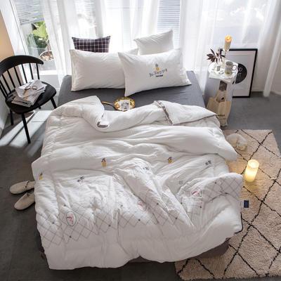 孚缦被业-2018新款水洗棉刺绣工艺纤维冬被 200X230cm 热带风情白色