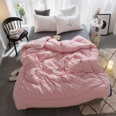 孚缦被业-2018新款水洗棉刺绣工艺纤维冬被 200X230cm 热带风情粉色