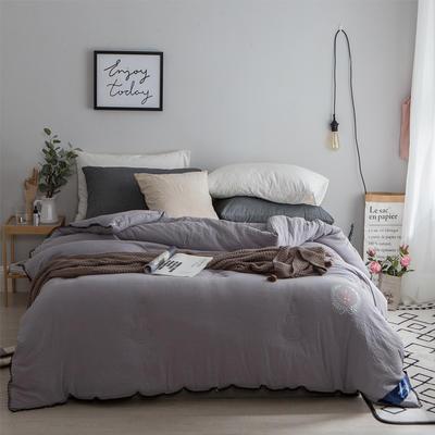 孚缦被业-水洗棉纤维冬被-皇冠 200X230cm 灰色