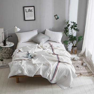2018新款全棉水洗棉棉花刺绣夏被 150x200cm 法式浪漫-白