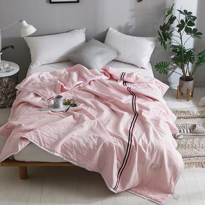 2018新款全棉水洗棉棉花刺绣夏被 150x200cm 法式浪漫-粉