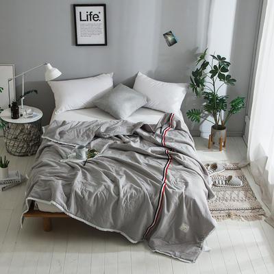 2018新款全棉水洗棉棉花刺绣夏被 150x200cm 法式浪漫-灰