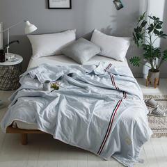 2018新款全棉水洗棉棉花刺绣夏被 150x200cm 法式浪漫-蓝