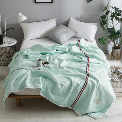 2018新款全棉水洗棉棉花刺绣夏被 150x200cm 法式浪漫-绿