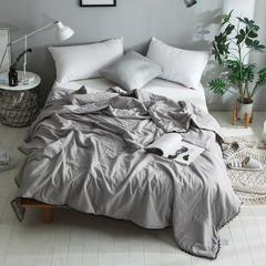 2018新款全棉水洗棉棉花刺绣夏被 150x200cm 氧气森林-灰
