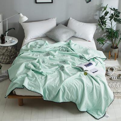 2018新款全棉水洗棉棉花刺绣夏被 150x200cm 氧气森林-绿