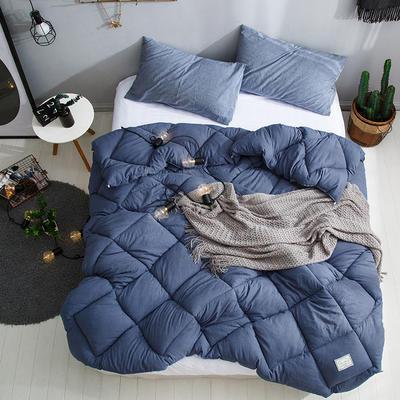 孚缦被业 新款北欧宜家风水洗棉春秋被冬被被芯被子-托斯卡纳 150X200cm(5斤) 深蓝