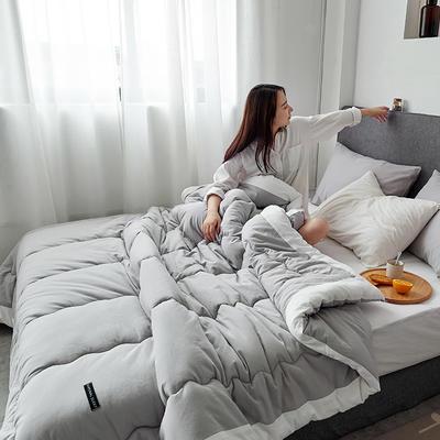 孚缦被业-2018新款日式全棉水洗棉冬被-奈良 200X230cm7斤 浅灰色