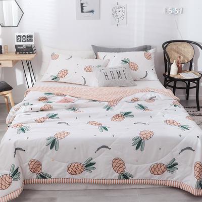 2019新款全棉手工包边印花纤维夏被 150x200cm 菠萝蜜语