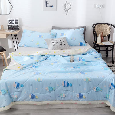2019新款全棉手工包边印花纤维夏被 150x200cm 海洋世界