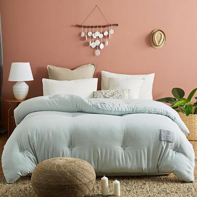 2019新款色织彩棉被子-伊莎贝拉被子被芯 220*240冬被7.5斤 淡绿色