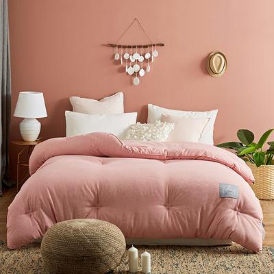 2019新款色织彩棉被子-伊莎贝拉被子被芯 220*240冬被7.5斤 粉红色