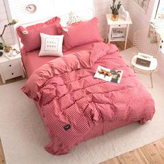 2018网红韩版针织棉四件套 1.5m(5英尺)床 畅想未来红