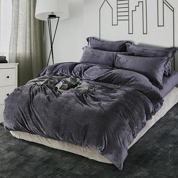 SMR 睡美人280克立体雕花绒割绒水晶绒牛奶绒 1.5m(5英尺)床 Srf002黑曜石
