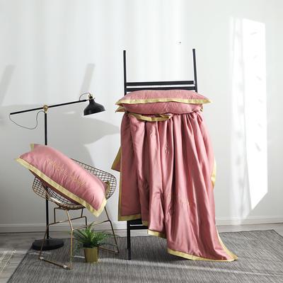 2019新款60S兰精天丝夏被四件组 标准号 夏被+枕套+床单 胭脂红