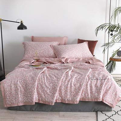 2019新款60S印花兰精天丝夏被四件组 标准号 夏被+枕套+床单 水漾玫瑰
