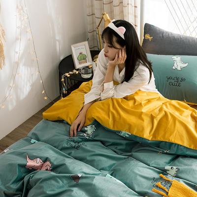 2019新款臻丝丽丝绒宝宝绒牛奶绒水晶绒床单床笠印花三件套四件套 1.2m床单款三件套 绿恐龙