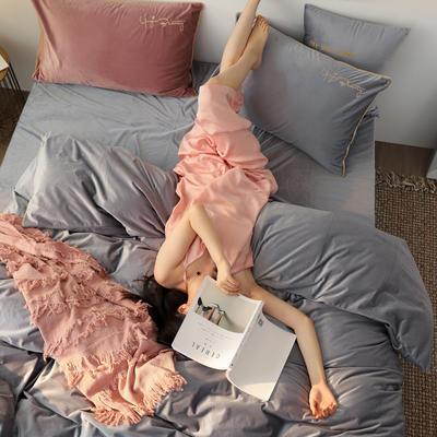 秋冬新款素色刺绣款式保暖宝宝绒臻丝暖绒丽丝绒水晶绒牛奶绒床单四件套 1.5m-1.8m床单款 浅钴灰