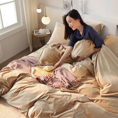 秋冬新款素色刺绣款式保暖宝宝绒臻丝暖绒丽丝绒水晶绒牛奶绒床单四件套 1.5m-1.8m床单款 香槟金