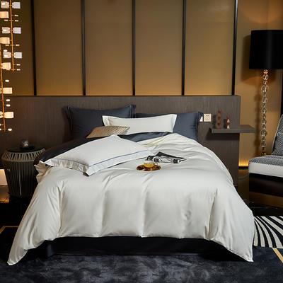 2020新款100支棉双拼系列四件套 1.5m床单款四件套 羽白黑