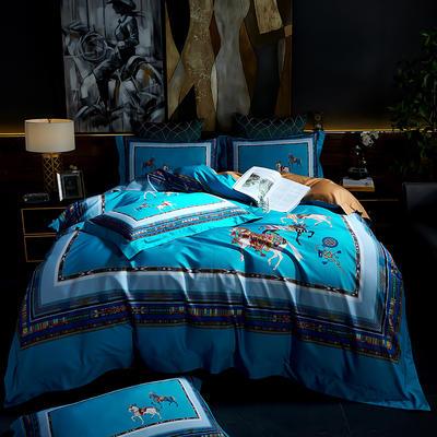 2020新款100支棉数码印花系列四件套 1.8m床单款四件套 罗马假日-蓝