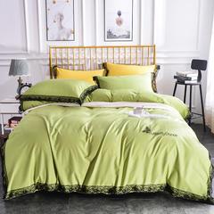 2019新款纯棉13372纯色烫金款四件套 1.5m(5英尺)床 蝴蝶舞-翠绿
