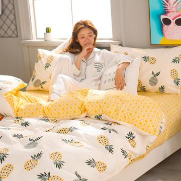 2018新款总北欧小清新系列全棉13372 四件套 1.2m-1.35(床单款) 大菠萝