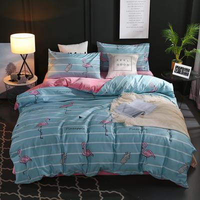 A全棉B水晶绒四件套 1.2m床单款 甜心菠萝