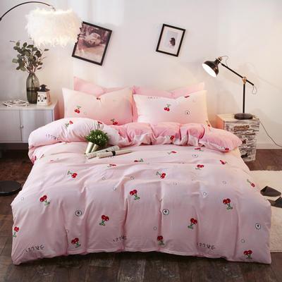 A全棉B水晶绒四件套 1.2m床单款 樱桃
