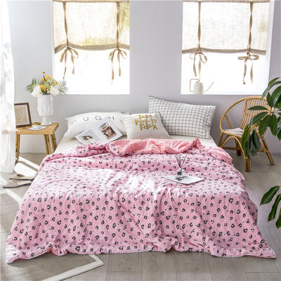 布蕾肯家纺2019新品水洗棉夏被 空调被 带花边 150x200cm 豹纹粉