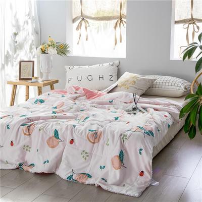 布蕾肯家纺2019新品水洗棉夏被 空调被 带花边 150x200cm 蜜桃