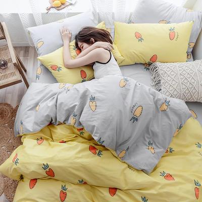 布蕾肯家纺2019新品全棉INS四件套网红套件 床单款 床笠款 1.2m(4英尺)床单款 萝卜黄灰